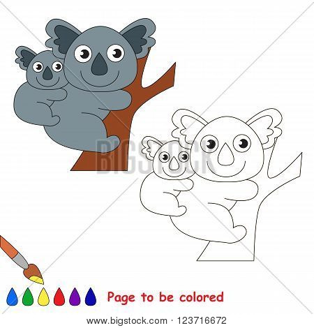 Koala and her baby to be colored. Coloring book for children. Visual game.