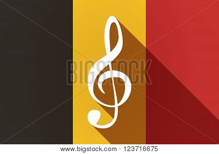 Long Shadow Belgium Flag With A G Clef