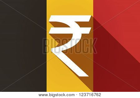 Long Shadow Belgium Flag With A Rupee Sign