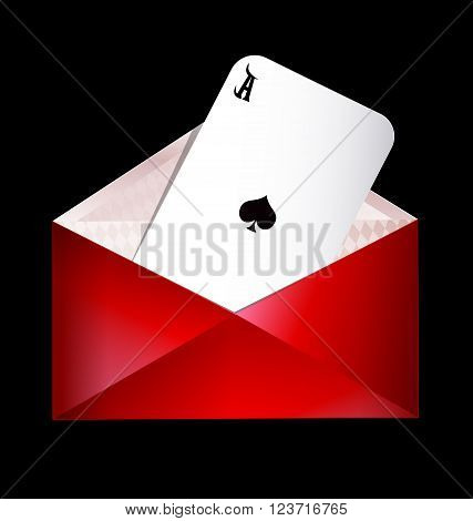 dark background and the red envelope with ace of spades