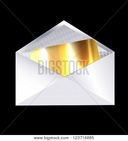 dark background and the envelope with golden card inside