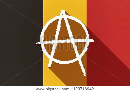 Long Shadow Belgium Flag With An Anarchy Sign