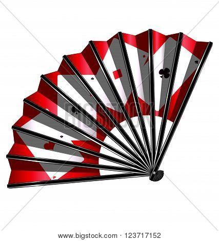 white background and the black red fan with image of cards