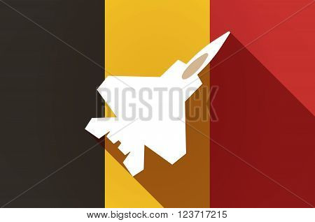 Long Shadow Belgium Flag With A Combat Plane