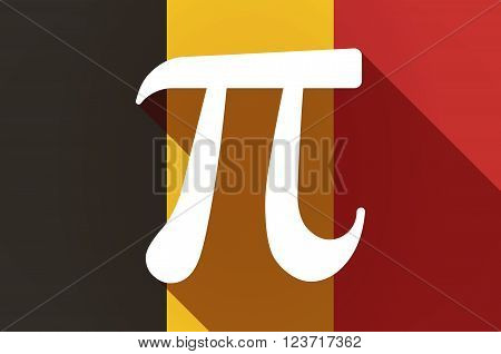 Long Shadow Belgium Flag With The Number Pi Symbol