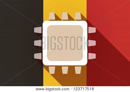 Long Shadow Belgium Flag With A Cpu