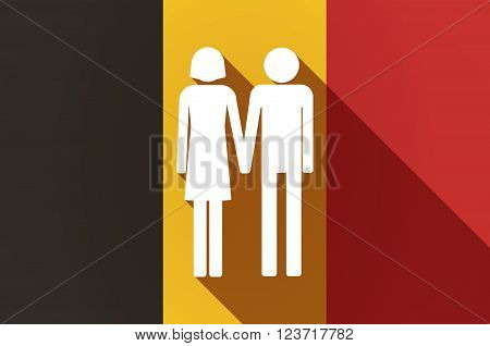 Long Shadow Belgium Flag With A Heterosexual Couple Pictogram