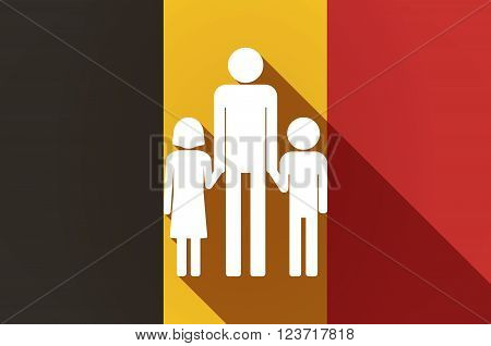 Long Shadow Belgium Flag With A Male Single Parent Family Pictogram