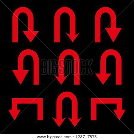 Turn Back Arrows vector icon set. Collection style is red flat symbols on a black background. Turn Back Arrows icons.