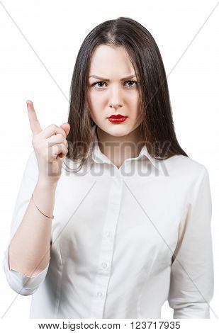 Young angry woman threaten finger isolated on white background