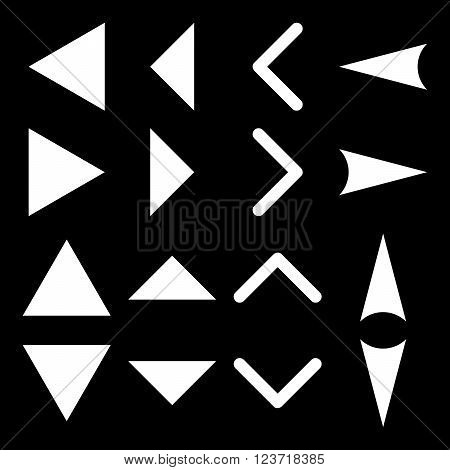 Arrowheads vector icon set. Collection style is white flat symbols on a black background. Arrowheads icons.