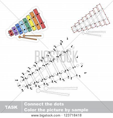 Xylophone in vector to be traced by numbers. Vector visual game for children.