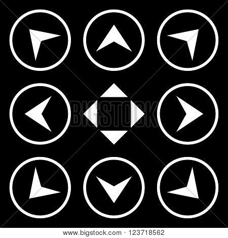 Circled Arrowheads vector icon set. Collection style is white flat symbols on a black background. Circled Arrowheads icons.