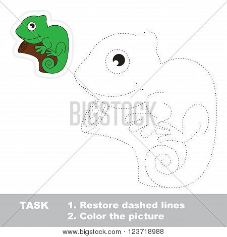Iguana in vector to be traced. Restore dashed line and color the picture. Trace game for children.