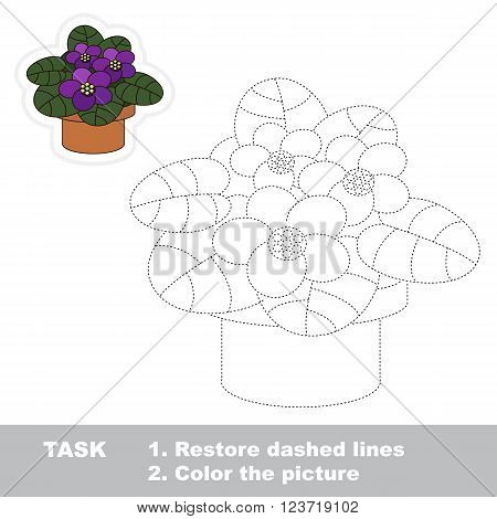 Violet in vector to be traced. Restore dashed line and color the picture. Trace game for children.