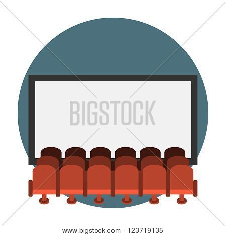 Cinema hall flat icon. Rows of red cinema seats in front of white blank screen