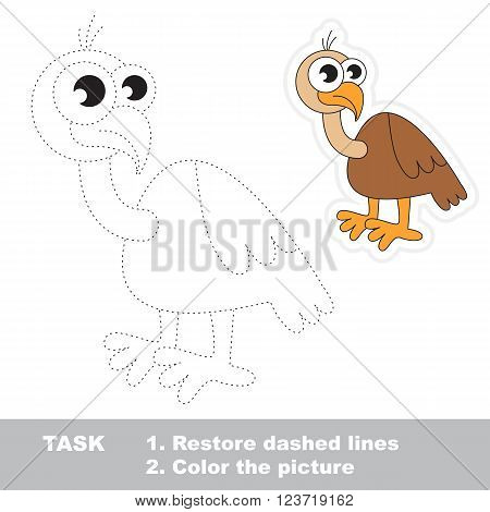 Vulture in vector to be traced. Restore dashed line and color the picture. Trace game for children.