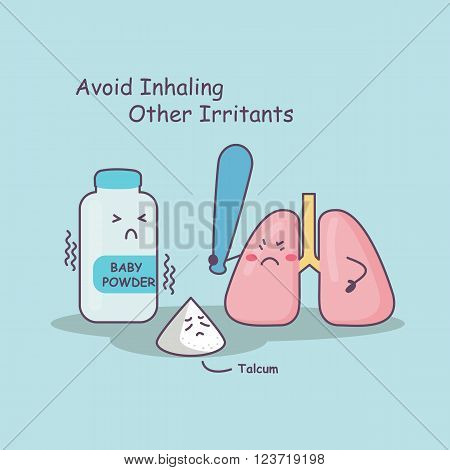 cute cartoon lung holding bat against baby powder and talcum avoid inhaling other irritantsgreat for health care concept