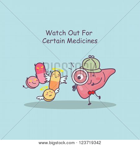cute cartoon liver watch out for certain medicines great for health care concept