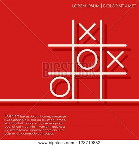 Line tic tac toe XO game on red background. Noughts and crosses board game. Cover brochures flyer card design template. Vector illustration