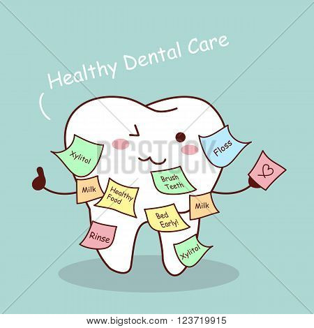 cute cartoon tooth with memo great for health dental care concept