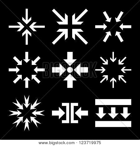 Minimize Arrows vector icon set. Collection style is white flat symbols on a black background. Minimize Arrows icons.