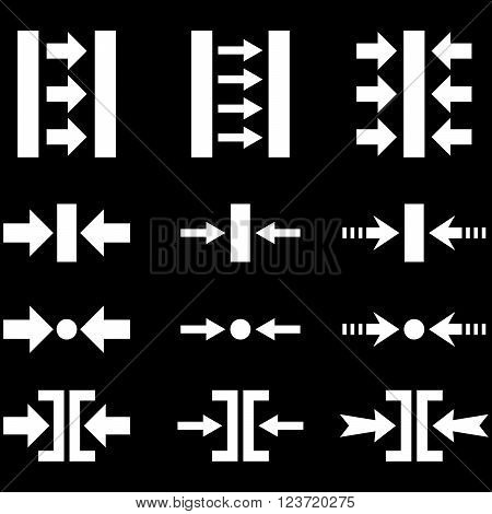 Pressure Horizontal vector icon set. Collection style is white flat symbols on a black background. Pressure Horizontal icons.