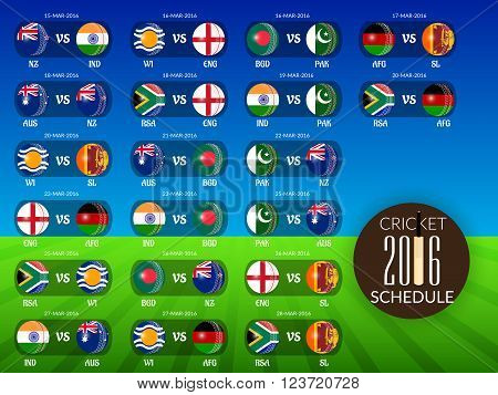 illustration of Cricket Match concept with their countries flag.