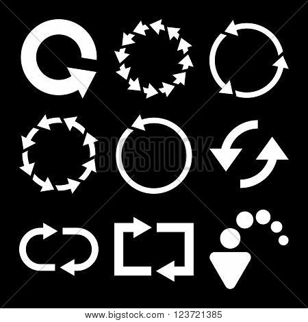 Rotate Arrows vector icon set. Collection style is white flat symbols on a black background. Rotate Arrows icons.