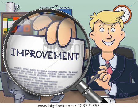 Improvement on Paper in Business Man's Hand to Illustrate a Business Concept. Closeup View through Lens. Colored Doodle Style Illustration.