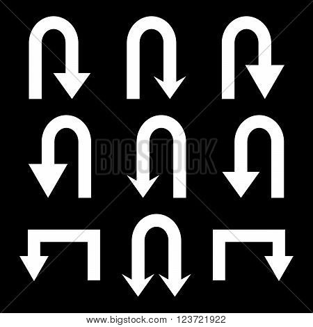 Turn Back Arrows vector icon set. Collection style is white flat symbols on a black background. Turn Back Arrows icons.