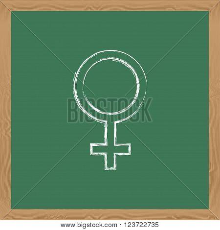 Flat vector icon. Chalk on a blackboard. Venus