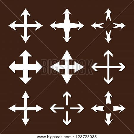Expand Arrows vector icon set. Collection style is white flat symbols on a brown background. Expand Arrows icons.