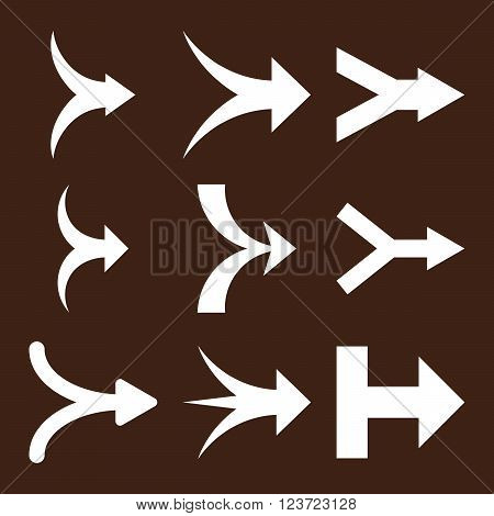 Join Arrows Right vector icon set. Collection style is white flat symbols on a brown background. Join Arrows Right icons.
