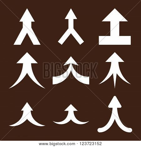 Join Arrows Up vector icon set. Collection style is white flat symbols on a brown background. Join Arrows Up icons.