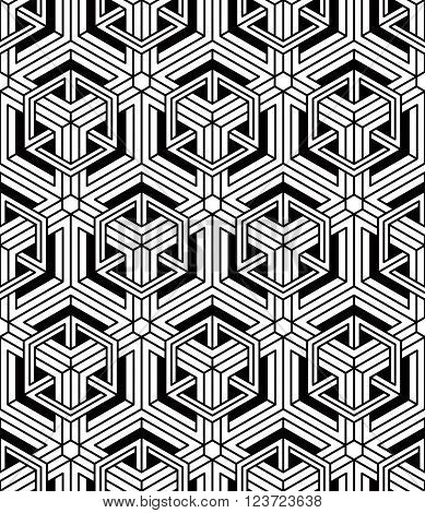 Illusive continuous monochrome pattern decorative abstract background with 3d geometric figures. Ornamental seamless backdrop can be used for design and textile.