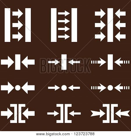 Pressure Horizontal vector icon set. Collection style is white flat symbols on a brown background. Pressure Horizontal icons.