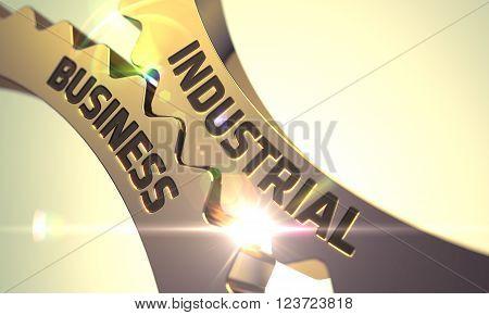 Industrial Business - Industrial Design. Industrial Business on the Mechanism of Golden Cog Gears with Lens Flare. Industrial Business Golden Metallic Cogwheels. 3D Render.