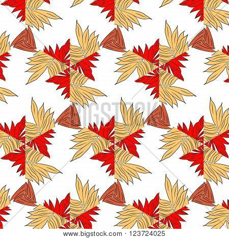 Primitive simple red modern pattern with lines and flowers