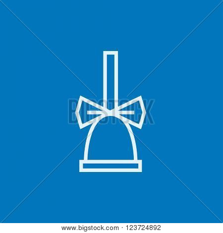 School bell with ribbon line icon.