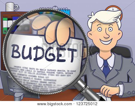 Officeman in Suit Holding a Paper with Budget Concept through Magnifier. Closeup View. Colored Doodle Style Illustration.