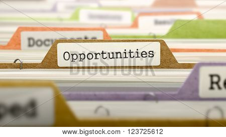 Opportunities - Folder Register Name in Directory. Colored, Blurred Image. Closeup View. 3D Render.