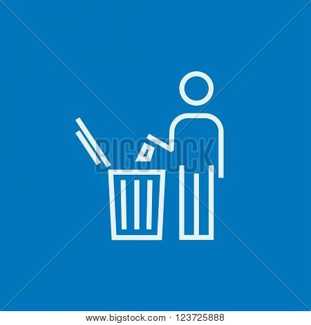 Man throwing garbage in a bin line icon.