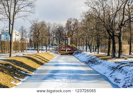 Day view on Krestovy Bridge in Alexander Park in Tsarskoye Selo (Pushkin) Russia