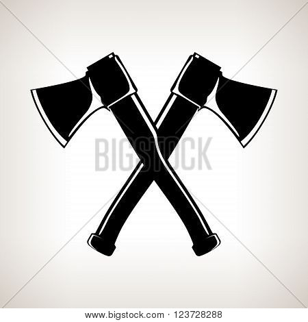 Crossed Axes, Silhouette of Two Crossed Axes on a Light Background, Black and White Vector Illustration