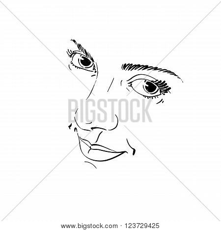Monochrome Silhouette Of Smiling Attractive Lady, Face Features. Hand-drawn Vector Illustration Of W