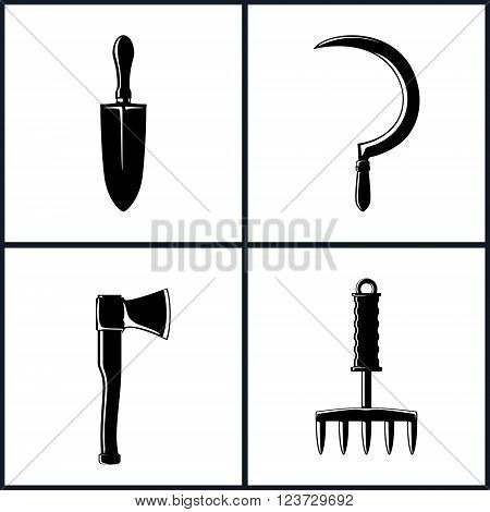 Set of Garden and Landscaping Tools Icons, Icon Trowel, Icon Sickle, Icon Axe, Icon Hand Rake, Garden Equipment , Agricultural Tool, Black and White Vector Illustration