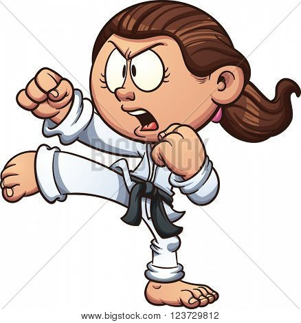 Cartoon girl practicing karate. Vector clip art illustration with simple gradients. Head, front arm, ponytail and body on separate layers.