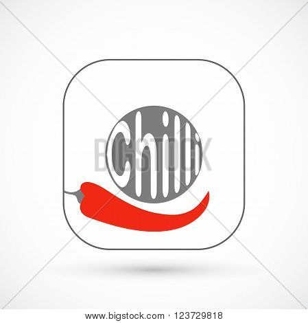 Icon pepper chilli vector illustration isolated on background