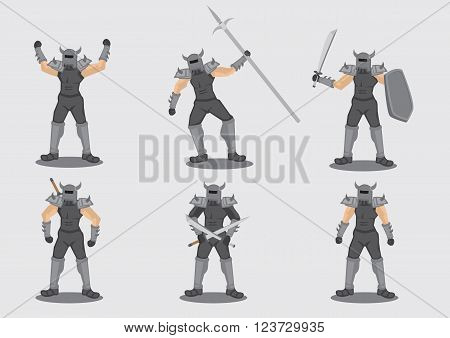 Set of six vector illustrations of medieval warrior game character in metal spiked armor suit with different weapon isolated on grey background.